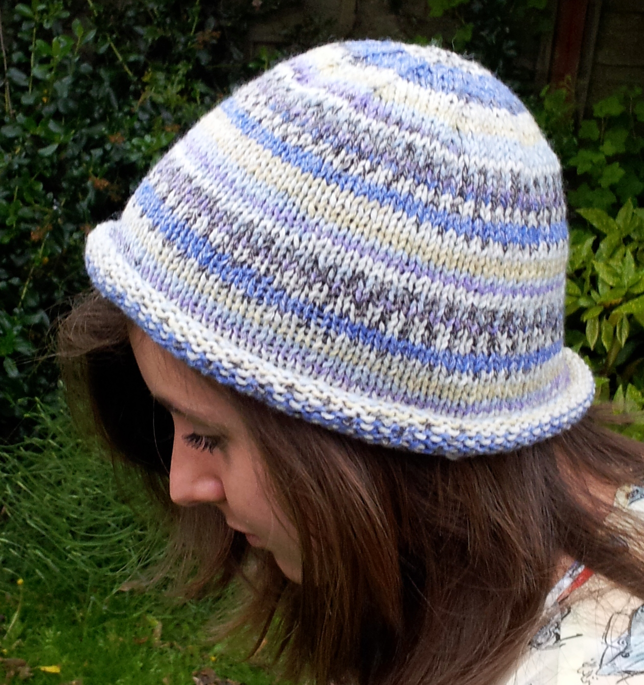 Knit Hat Pattern Free Brim : Knitted Rolled Brim Beanie Hat   Free beginners pattern ...
