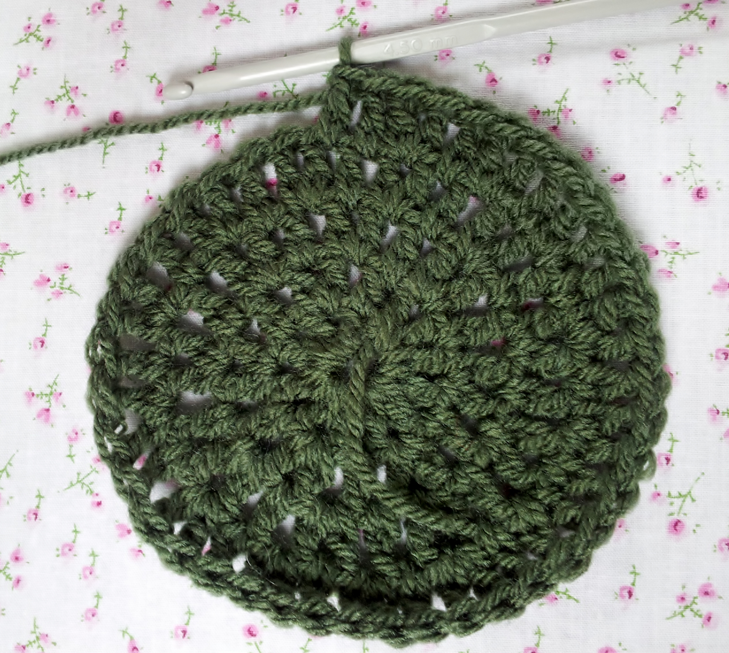 Crochet hat round 4 2 to 1