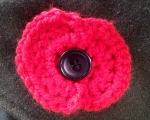 Crochet Poppy on coat