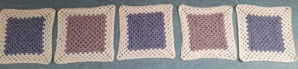Granny squares ready to be joined