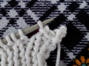 picot slip stitch back onto left needle