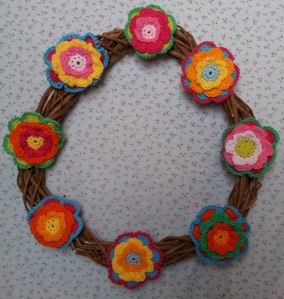 Wreath with Attic 24 Triple Layer Flowers