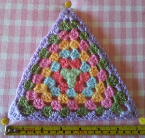 Steam Blocking Granny Triangles to 7 inches