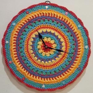 Crochet Mandala Flower Rainbow Clock