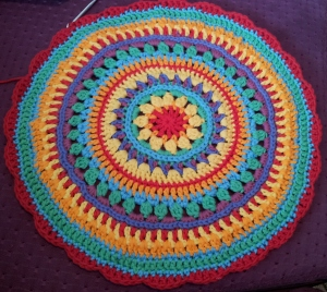 Mandala Flower Crochet Clock round 20 flower edging