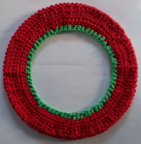 Crochet covered wire wreath frame
