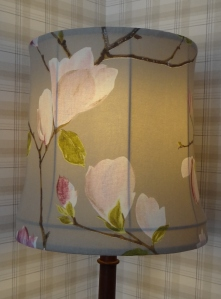 Finished lampshade with light turned on