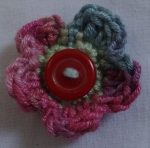 varigated crochet yarn button