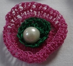 two layer crochet flower with beads