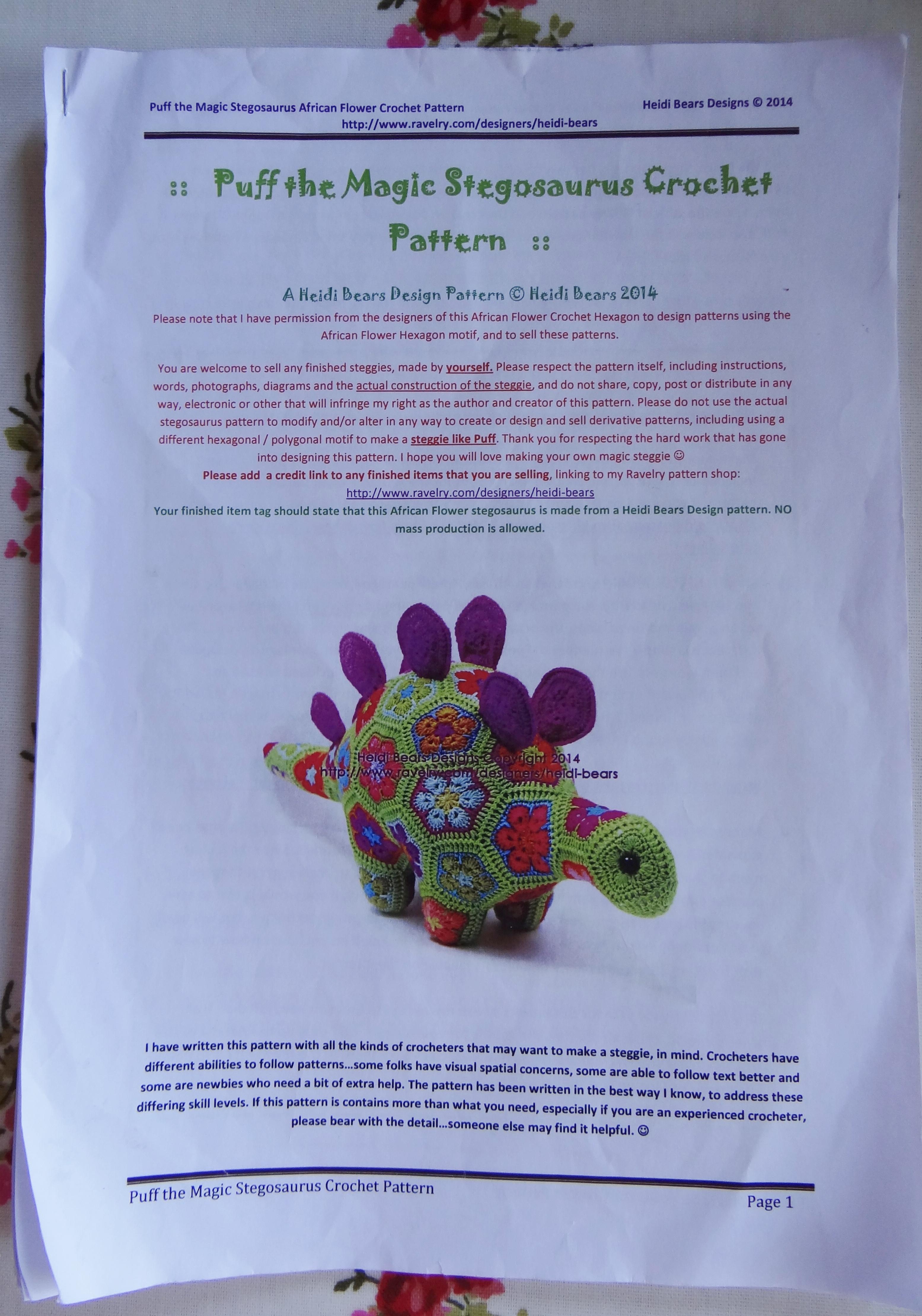 The Making of Magic – Heidi Bears Puff the Magic Stegosaurus Crochet ...
