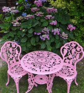 sprayed garden furniture