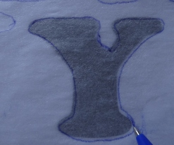 Drawletters onto fusible interfacing