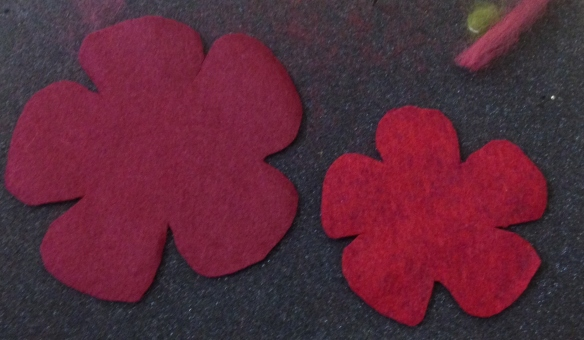 cut flower shaped flat felt