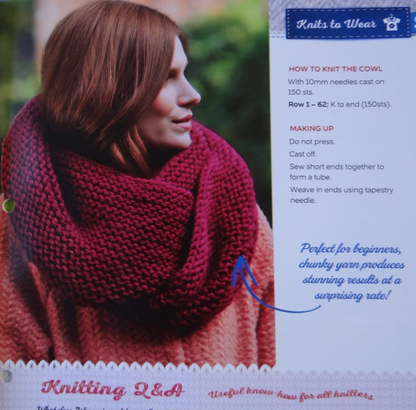 Beginners Cowl Pattern Art of Knitting