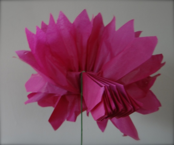 2nd side of tissue paper flower