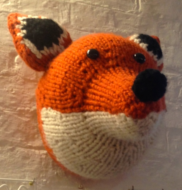 Sincerely Louise faux taxidermy  knitted fox
