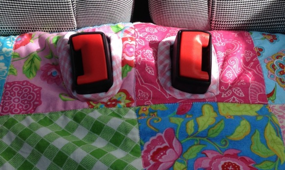 bias binding on back seat cover seat belt  buckles