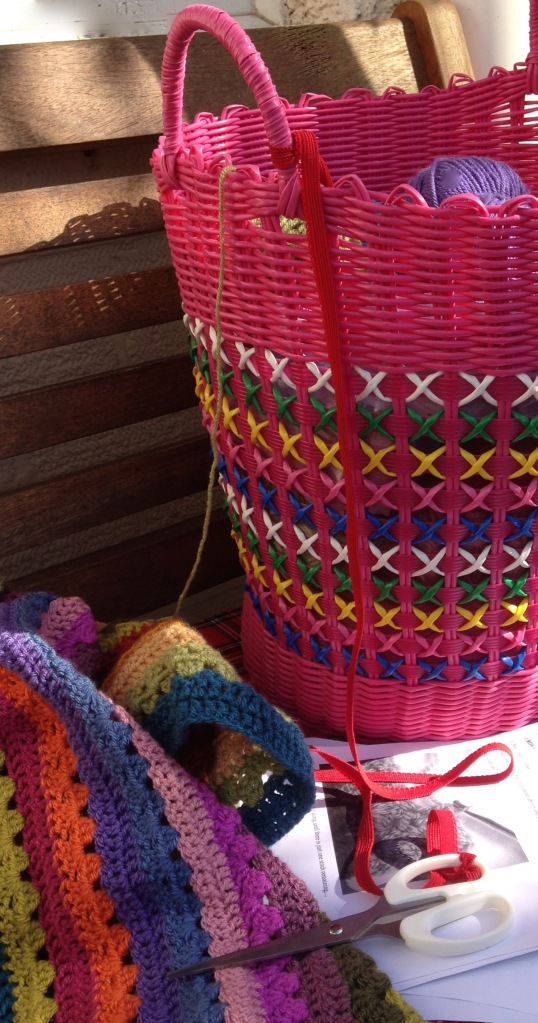 Handle uses for yarn baskets