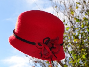 Red Wool Felt Cloche with Black Trim Isabella Joise