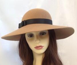 Camel wool felt 70's style floppy hat Isabella Josie