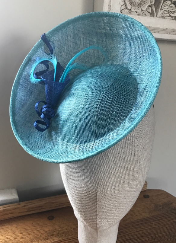 aqua and royal blue perching hat. Isabella Josie