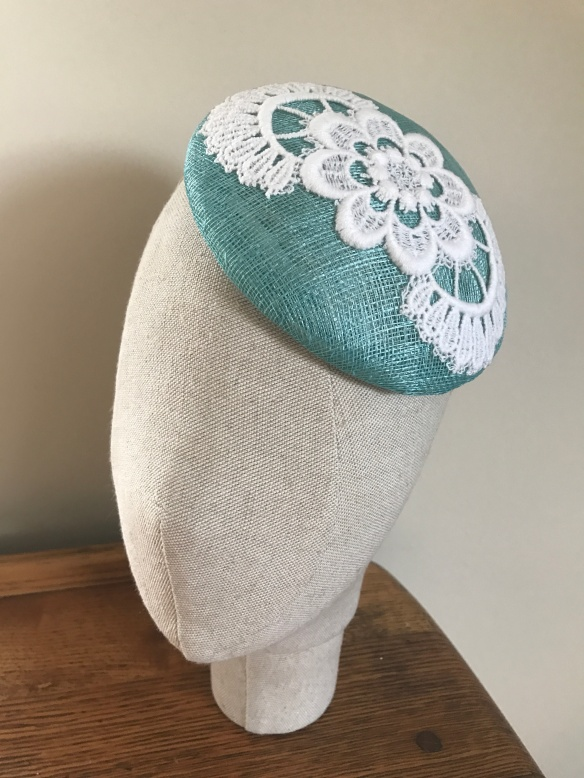 aqua sinamay percher with lace trim. Isabella Josie