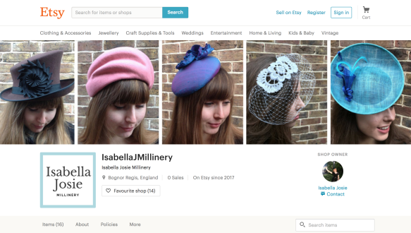 Isabella Josie Millinery screen shop Etsy